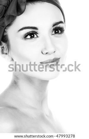 Pretty woman. B&W photography.  Isolated on white.