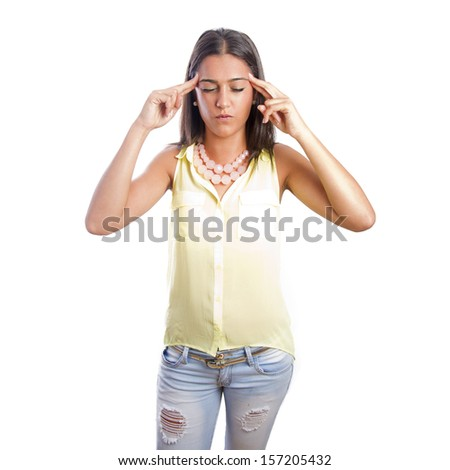 pretty woman concentration gesture - stock photo