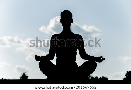 Pretty woman doing yoga exercises in the park. silhouette. - stock photo