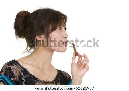 pretty woman eating chocolate, isolated on white background - stock photo