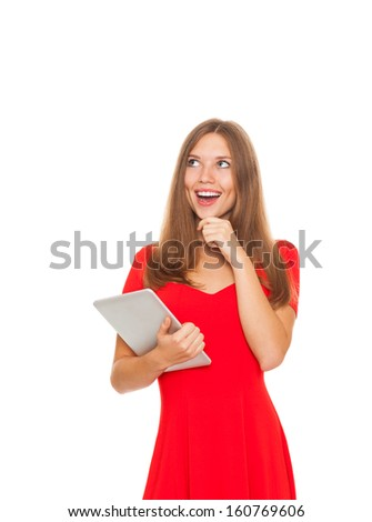pretty woman happy smile think looking up empty copy space hold tablet computer touch screen, young attractive student girl pondering look corner wear red dress, smiling isolated white background - stock photo