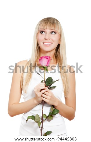 pretty woman happy smile, young girl hold pink rose, looking up to empty copy space, isolated over white background - stock photo
