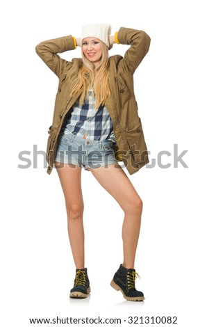 Pretty woman in jeans shorts isolated on white