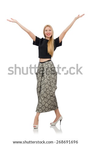 Pretty woman in long skirt isolated on white - stock photo