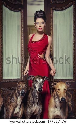 pretty woman in red dress with dogs - stock photo