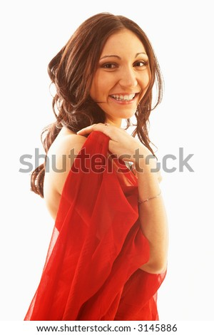 Pretty woman in red laughing