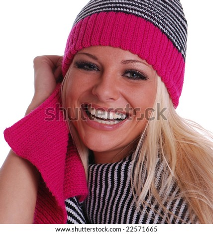 Pretty Woman in Winter Scarf and Hat - stock photo