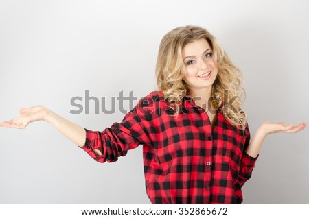 pretty woman making do not know sign - stock photo