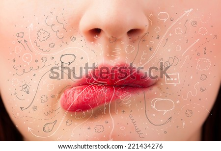 Pretty woman mouth blowing hand drawn icons and symbols close up - stock photo