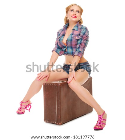Pretty woman on white background - stock photo