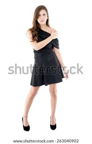 Pretty woman over white background . - stock photo