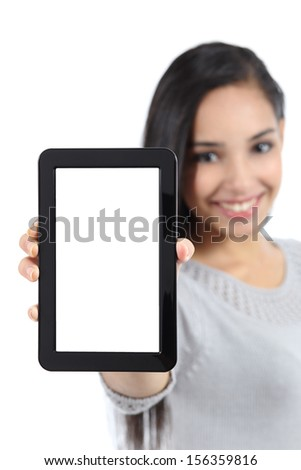 Pretty woman showing a blank vertical tablet screen isolated on a white background               - stock photo