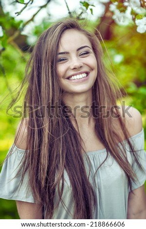 Pretty woman smiling - stock photo
