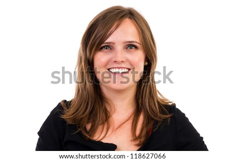 Pretty woman smiling isolated over white background