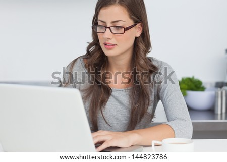 Pretty woman typing on her laptop in the kitchen - stock photo