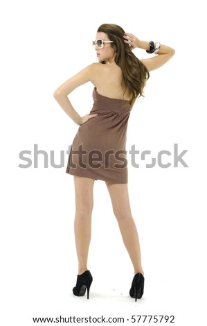 Pretty woman wearing sunglasses back  isolated - stock photo
