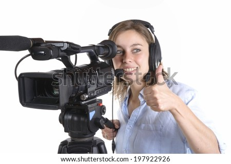 pretty woman with camera on white background