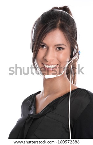 Pretty woman with headset facing camera isolated on white background  - stock photo