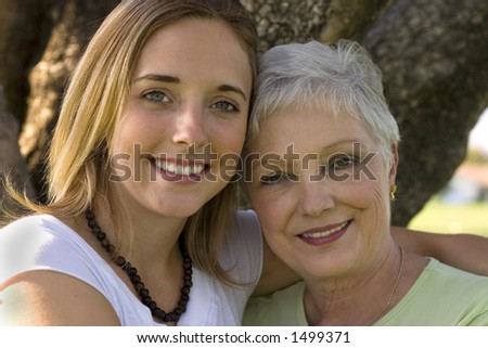 pretty woman with her beautiful grandmother