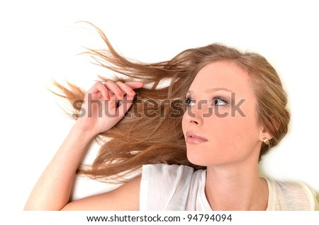 Pretty woman with long straight brown hair, isolated on white background