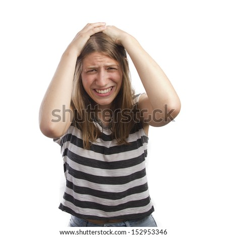 pretty woman with loser gesture - stock photo