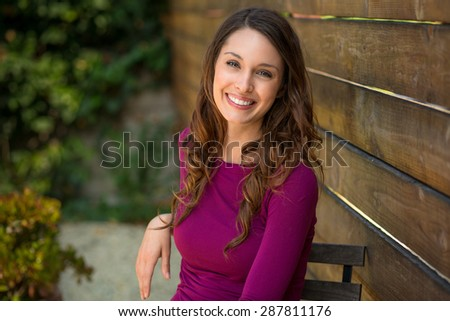 Pretty woman with perfect teeth and skin with a beautiful smile - stock photo