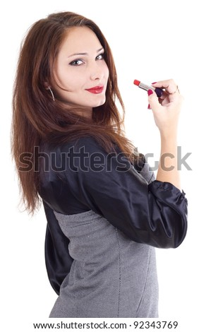 Pretty woman with red lipstick isolated on white - stock photo
