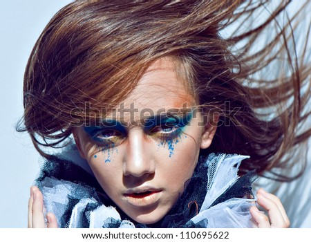 pretty women face whith green eyes - stock photo