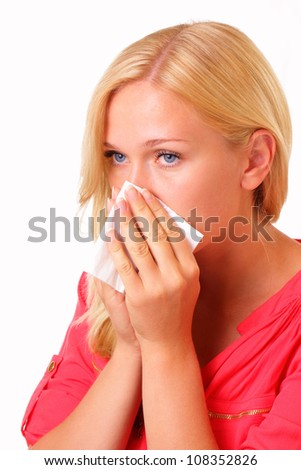 Pretty young allergic woman - stock photo