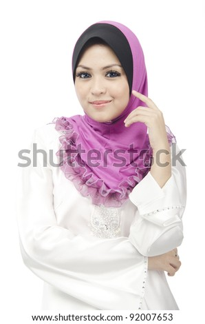 Pretty young Asian Muslim woman posses beautiful in action.