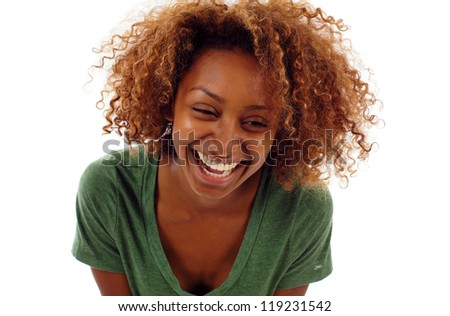 Pretty young black woman with curly hair smiling isolated over white background - stock photo