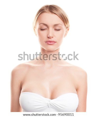 pretty young blond woman with beautiful  breast - stock photo