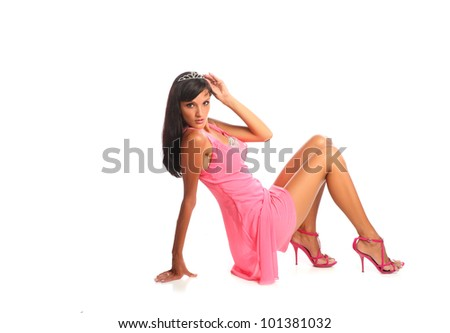 pretty young brunette woman  isolated white background - stock photo