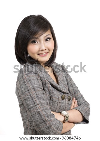 pretty young business woman - stock photo