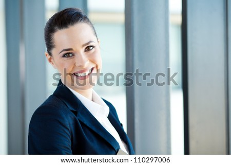 pretty young businesswoman closeup portrait - stock photo