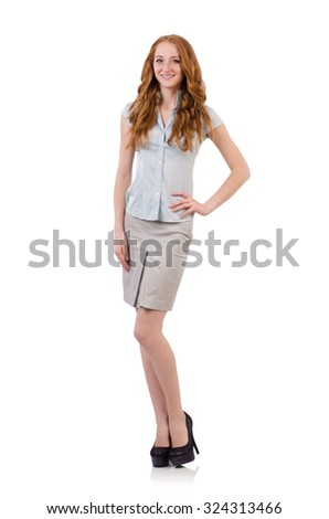 Pretty young employee isolated on white