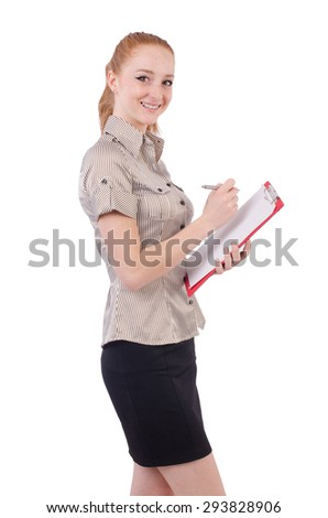 Pretty young employee with paper isolated on white - stock photo