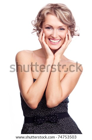 pretty young excited woman, isolated against white - stock photo