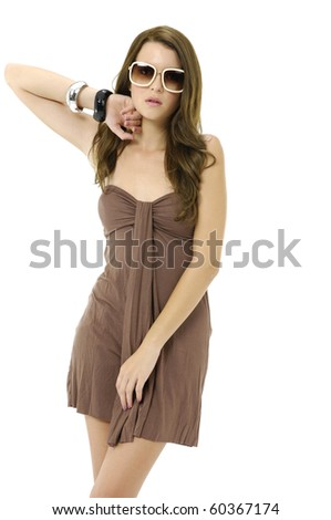 pretty young female model posing against white - stock photo