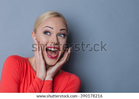 Pretty young girl is expressing her surprise - stock photo