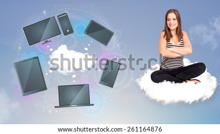 Pretty young girl sitting on cloud enjoying cloud network service