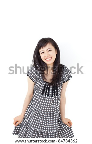 pretty young girl smiling, isolated on white background - stock photo