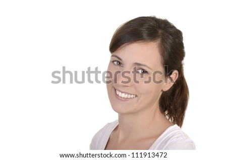 pretty young girl smiling, isolated, studio shot