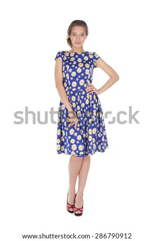 pretty young girl wearing a flower printed dress