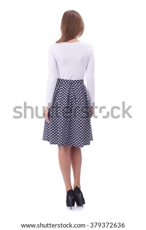 pretty young girl wearing black and white skirt