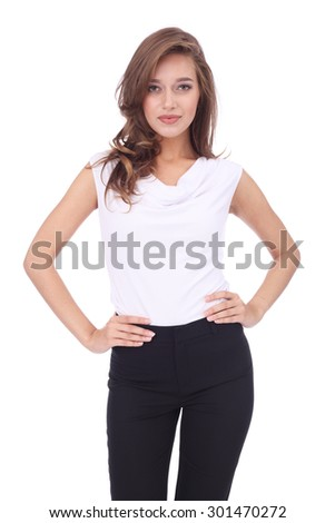 pretty young girl wearing long trousers - stock photo