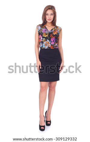 pretty young girl wearing office blouse and skirt - stock photo
