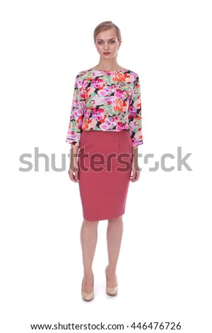 pretty young girl wearing pink skirt and flower printed blouse