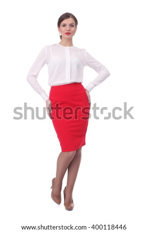 pretty young girl wearing red formal skirt and white blouse