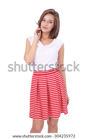 pretty young girl wearing red short striped skirt - stock photo